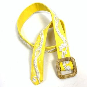 J. McLaughlin Embroidered Belt Straw Buckle Yellow